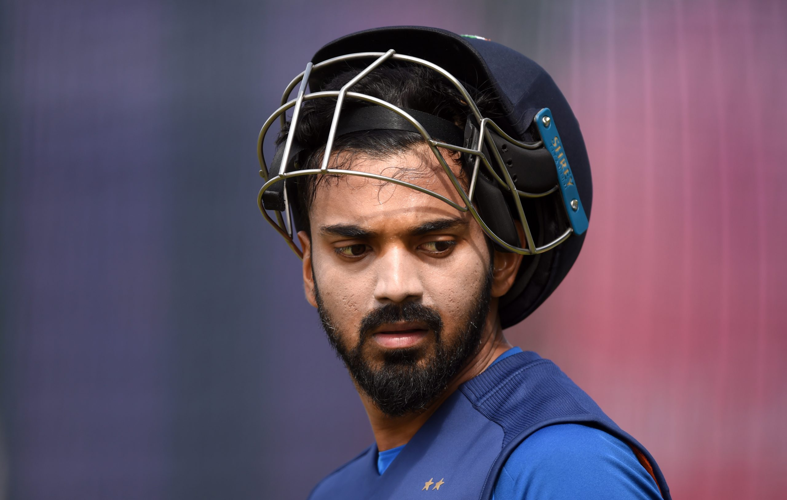 MANCHESTER, ENGLAND - JULY 08: Lokesh Rahul of India during a net session at Old Trafford on July 08, 2019 in Manchester, England. (Photo by Gareth Copley/Getty Images)