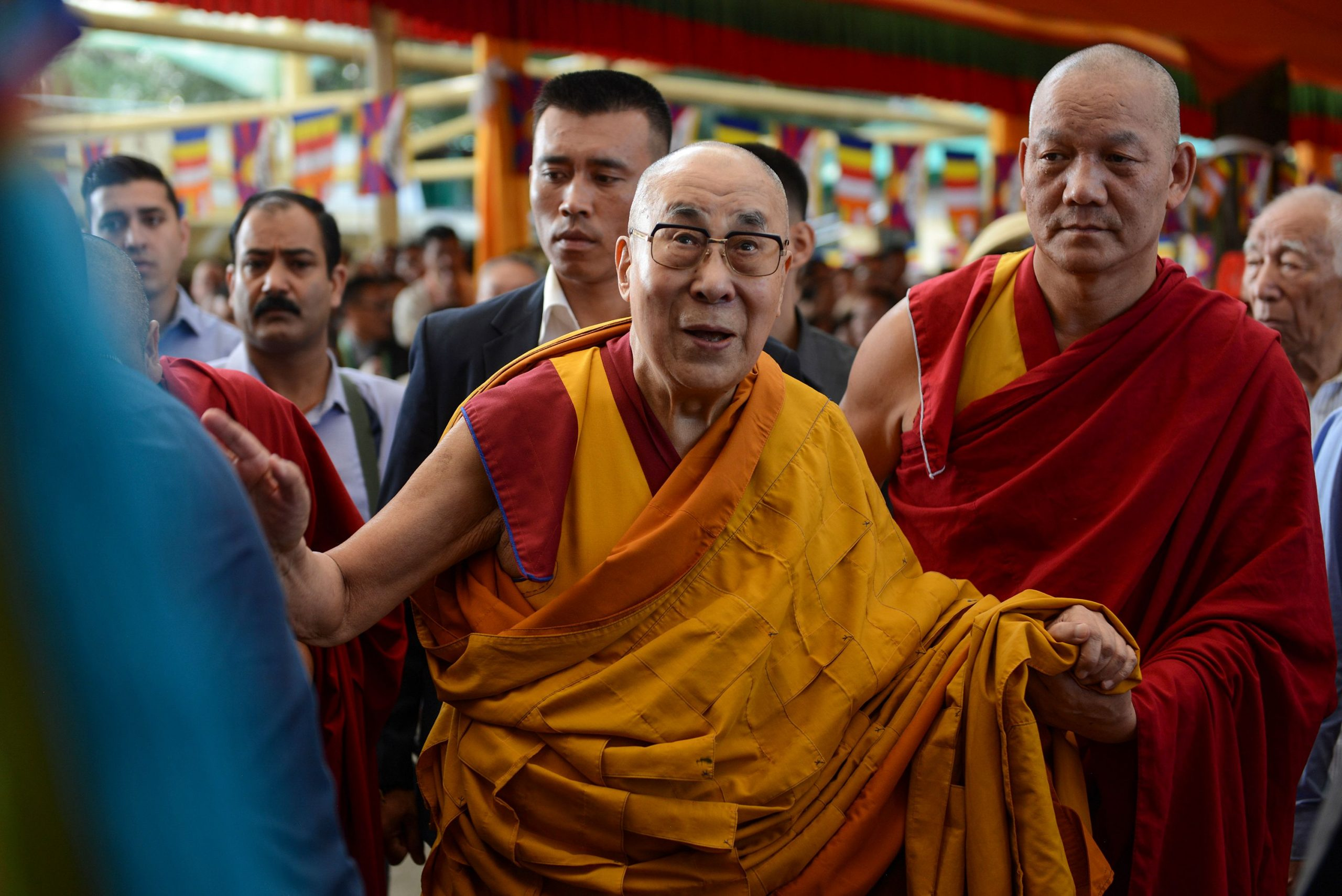 Tibetan spiritual leader the Dalai Lama (C) arrives for a long-life prayer offering dedicated to him at Tsuglagkhang Temple in McLeod Ganj on September 13, 2019. (Photo by Lobsang Wangyal / AFP) (Photo by LOBSANG WANGYAL/AFP via Getty Images)