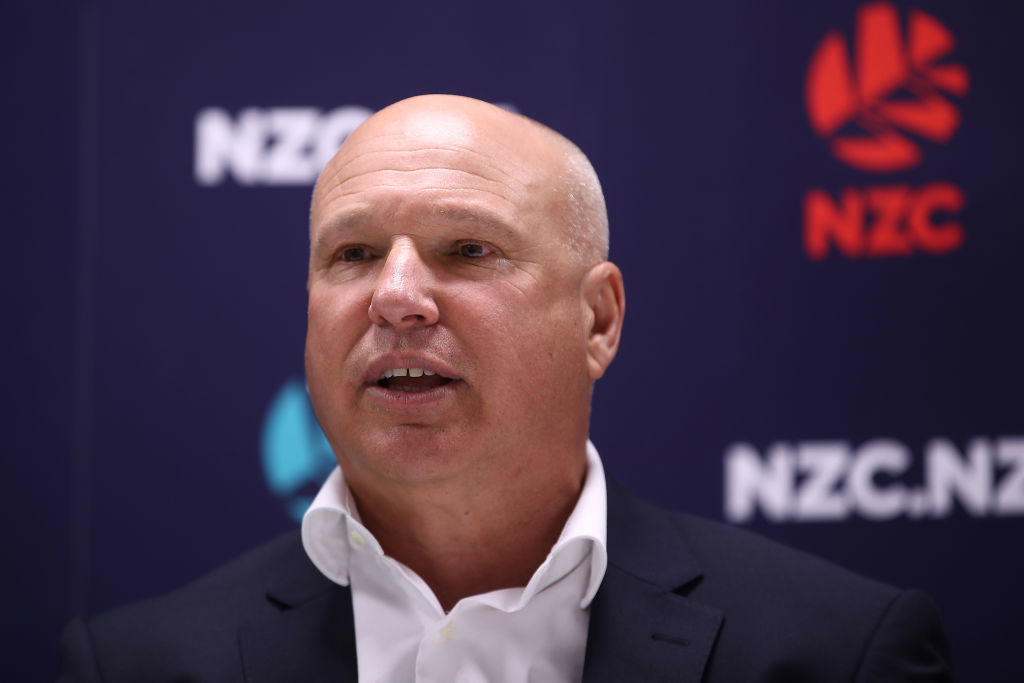 FILE PHOTO: New Zealand Cricket CEO David White speaks during a New Zealand Cricket press conference at the New Zealand Cricket Offices on October 10, 2019 in Auckland, New Zealand. (Photo by Phil Walter/Getty Images)