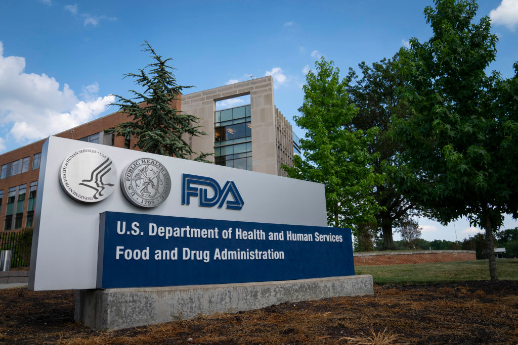 A sign for the Food And Drug Administration is seen outside of the headquarters on July 20, 2020 in White Oak, Maryland. (Photo by Sarah Silbiger/Getty Images)