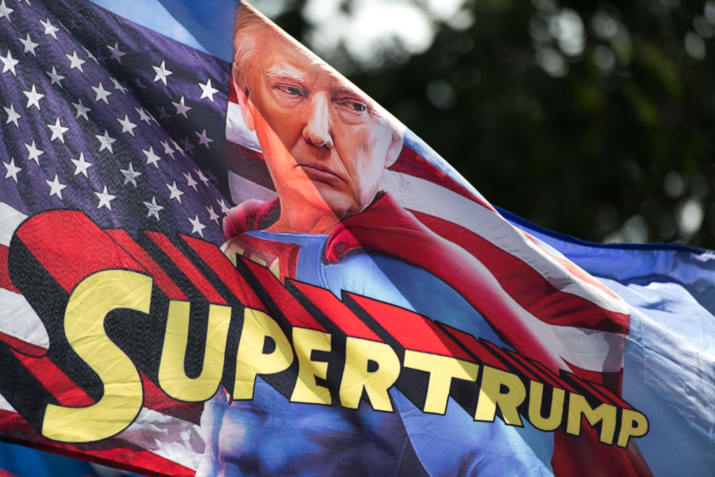 A flag depicting President Donald Trump as Supertrump waves in the wind before a campaign rally at Smith Reynolds Airport on September 8, 2020 in Winston Salem, North Carolina.  (Photo: Sean Rayford/Getty Images)