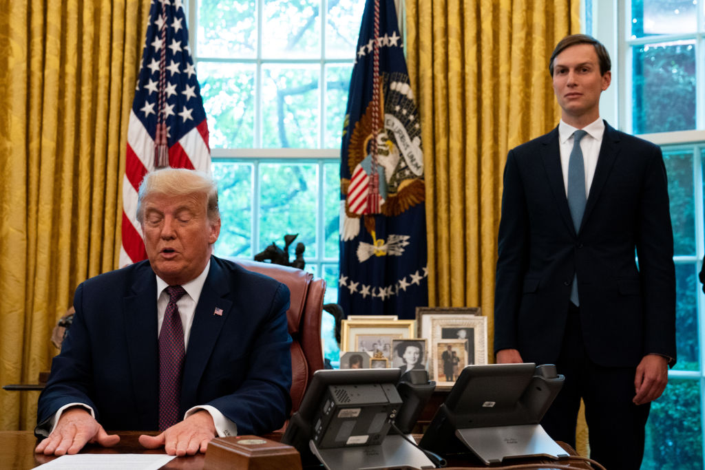 Adviser Jared Kushner (right) looks on as US President Donald Trump speaks at the Oval Office to announce that Bahrain will establish diplomatic relations with Israel, at the White House in Washington, DC on September 11, 2020. (Photo: Anna Moneymaker-Pool/Getty Images)