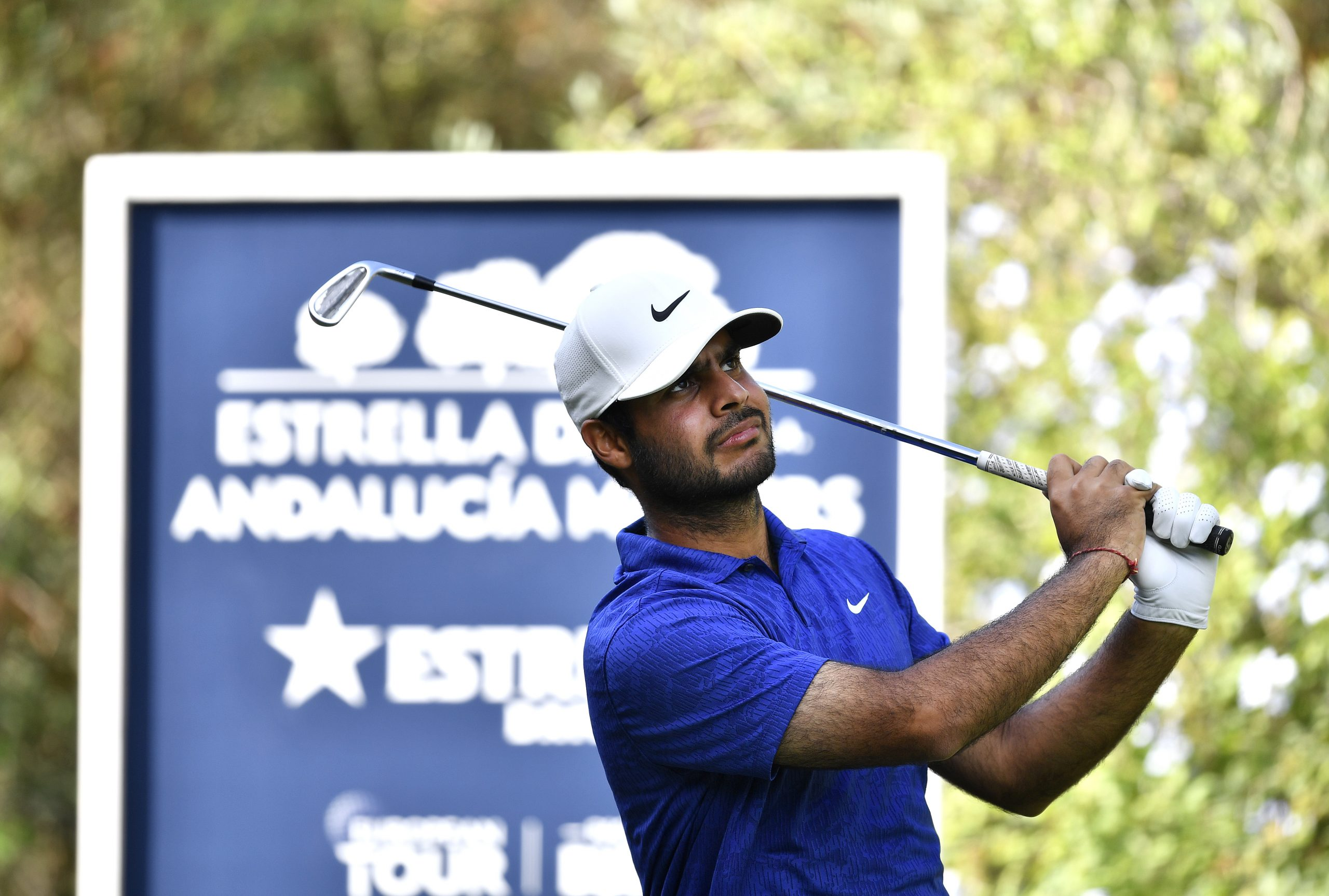 SOTOGRANDE, SPAIN - SEPTEMBER 03:  Shubhankar Sharma of India tees off on the third hole during the first round of the Estrella Damm N.A. Andalucia Masters at Real Club Valderrama on September 03, 2020 in Sotogrande, Spain. (Photo by Octavio Passos/Getty Images)
