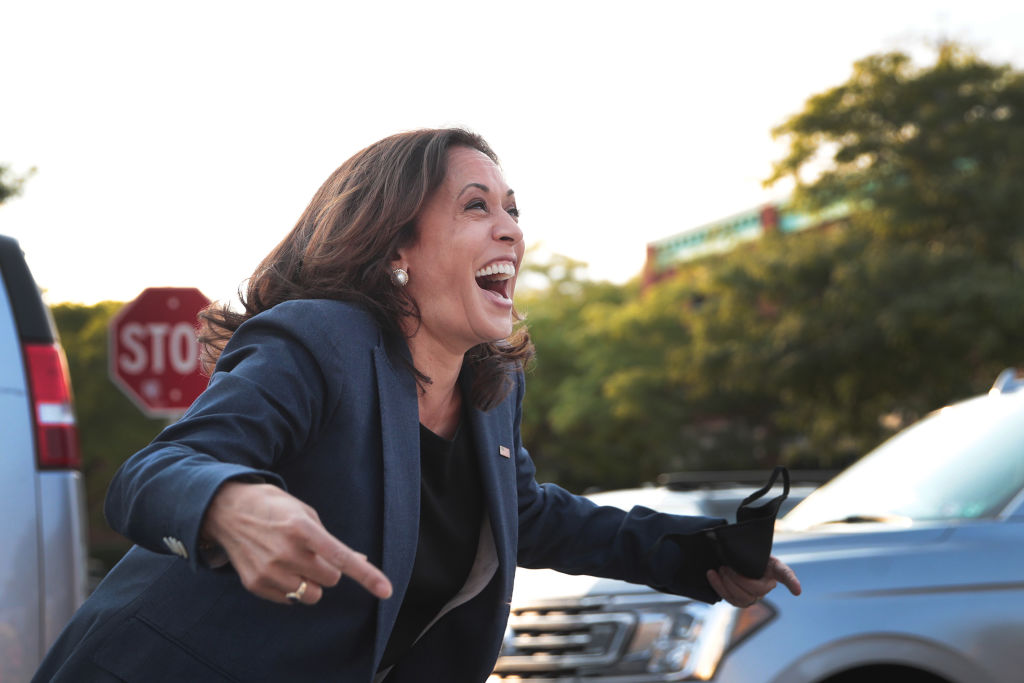 Democratic vice presidential Nominee Sen. Kamala Harris (D-CA) greets supporters gathered outside following a round table event with Black business owners on September 7, 2020 in Milwaukee, Wisconsin. (Photo by Scott Olson/Getty Images)