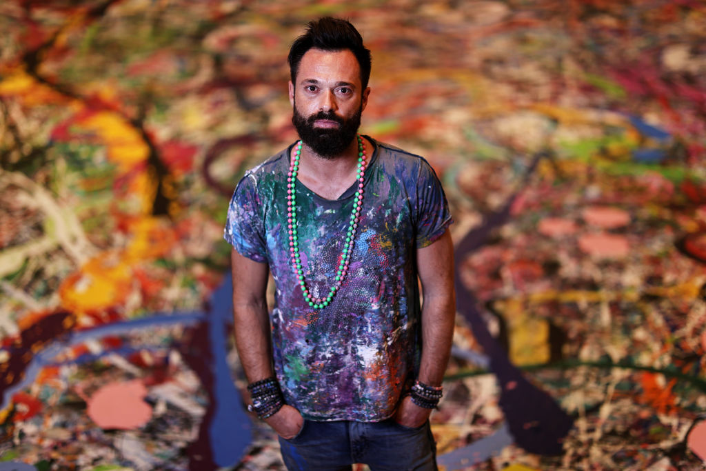Artist Sacha Jafri poses for a portrait on September 09, 2020 in Dubai, United Arab Emirates. Sacha Jafri is embarking on a global initiative to create the World's largest painting on canvas. (Photo: Francois Nel/Getty Images)