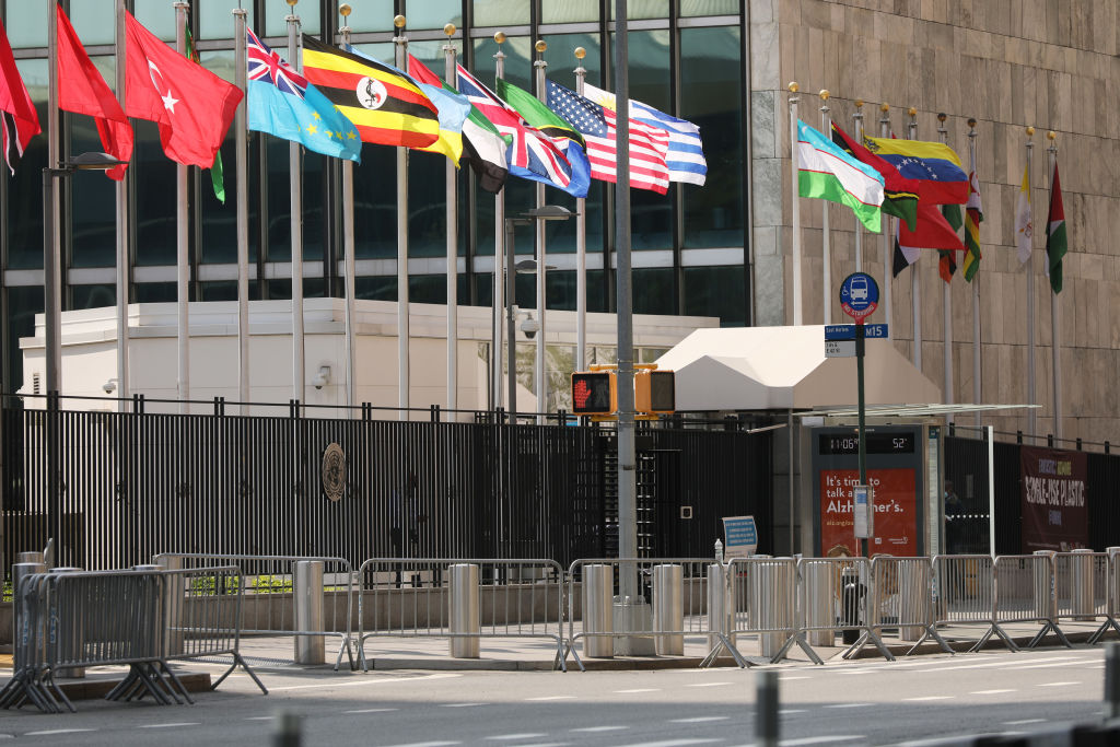 The United Nations building stands in Manhattan on the first official day of the 75th United Nations General Assembly on September 22, 2020 in New York City. (Photo by Spencer Platt/Getty Images)