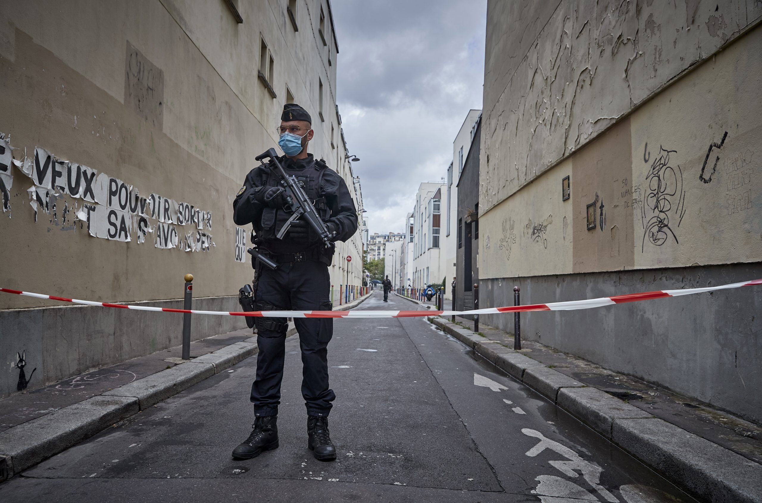 Armed police secure the area of around the former Charlie Hebdo headquarters, and scene of a previous terrorist attack in 2015, after two people were stabbed on September 25, 2020 in Paris, France.  (Photo by Kiran Ridley/Getty Images)