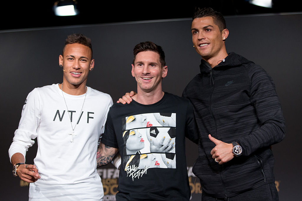 Lionel Messi (centre) with Neymar Jr (left) and Christiano Ronaldo. (Photo: Philipp Schmidli/Getty Images)