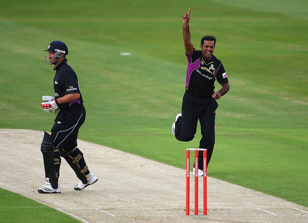 FILE PHOTO: Rana Naved-ul-Hasan of Yorkshire celebrates the wicket of Michael Di Venuto during the Twenty20 Cup Match between Yorkshire Carnegie and Durham Dynamos at Headingley Carnegie Stadium on June 2, 2009 in Leeds, England.  (Photo by Laurence Griffiths/Getty Images)