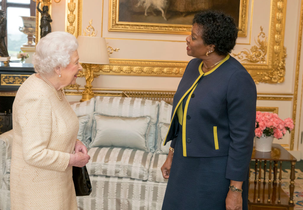 FILE PHOTO: Queen Elizabeth II with Barbados Governor-General Dame Sandra Mason at Buckingham Palace on March 28, 2018 in London, England. (Photo: Steve Parsons/Getty Images)