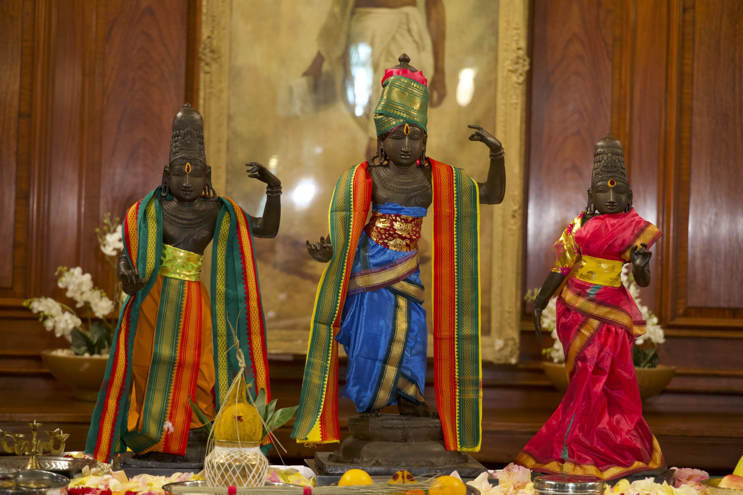 Ancient idols of Lord Ram, Sita and Lakshman after a ritual ahead of being handed over Indian officials at India House, London.
