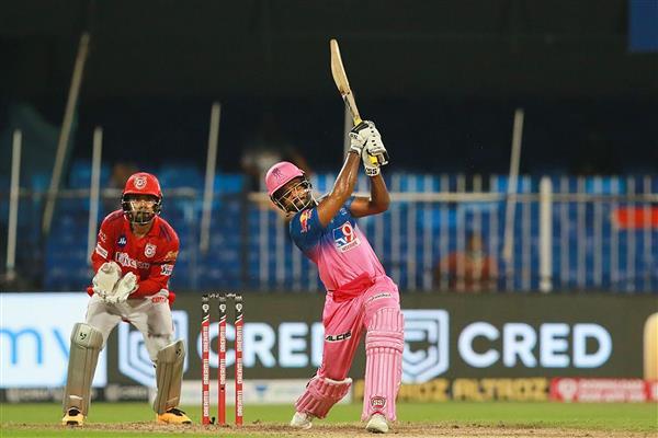 Sanju Samson smashes a six for the Rajasthan Royals (PTI)
