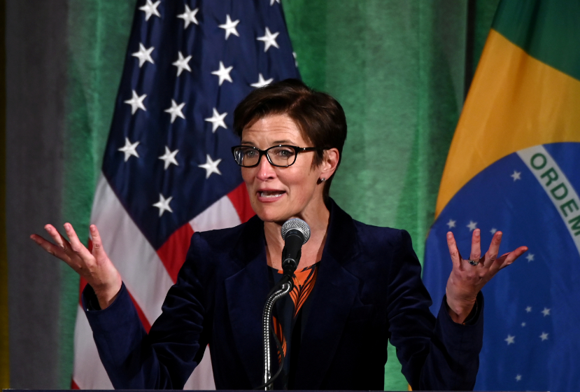FILE PHOTO: Citigroup executive Jane Fraser, who was named the company's next CEO on Thursday, addresses a Brazil-U.S. Business Council forum in Washington, U.S. March 18, 2019. REUTERS/Erin Scott/File Photo