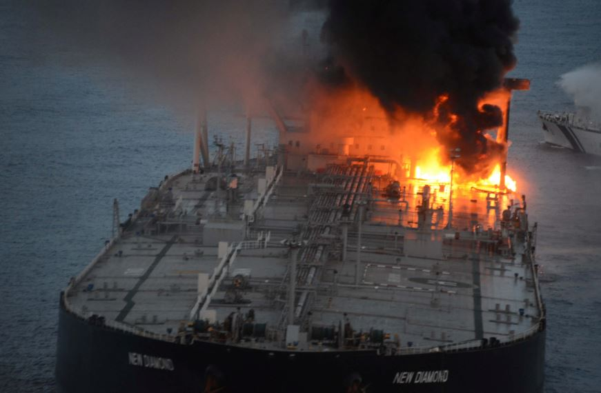 FILE PHOTO: The New Diamond, a very large crude carrier (VLCC) chartered by Indian Oil Corp (IOC), that was carrying the equivalent of about 2 million barrels of oil, is seen after a fire broke out off east coast of Sri Lanka September 4, 2020. Sri Lankan Airforce media/Handout via REUTERS