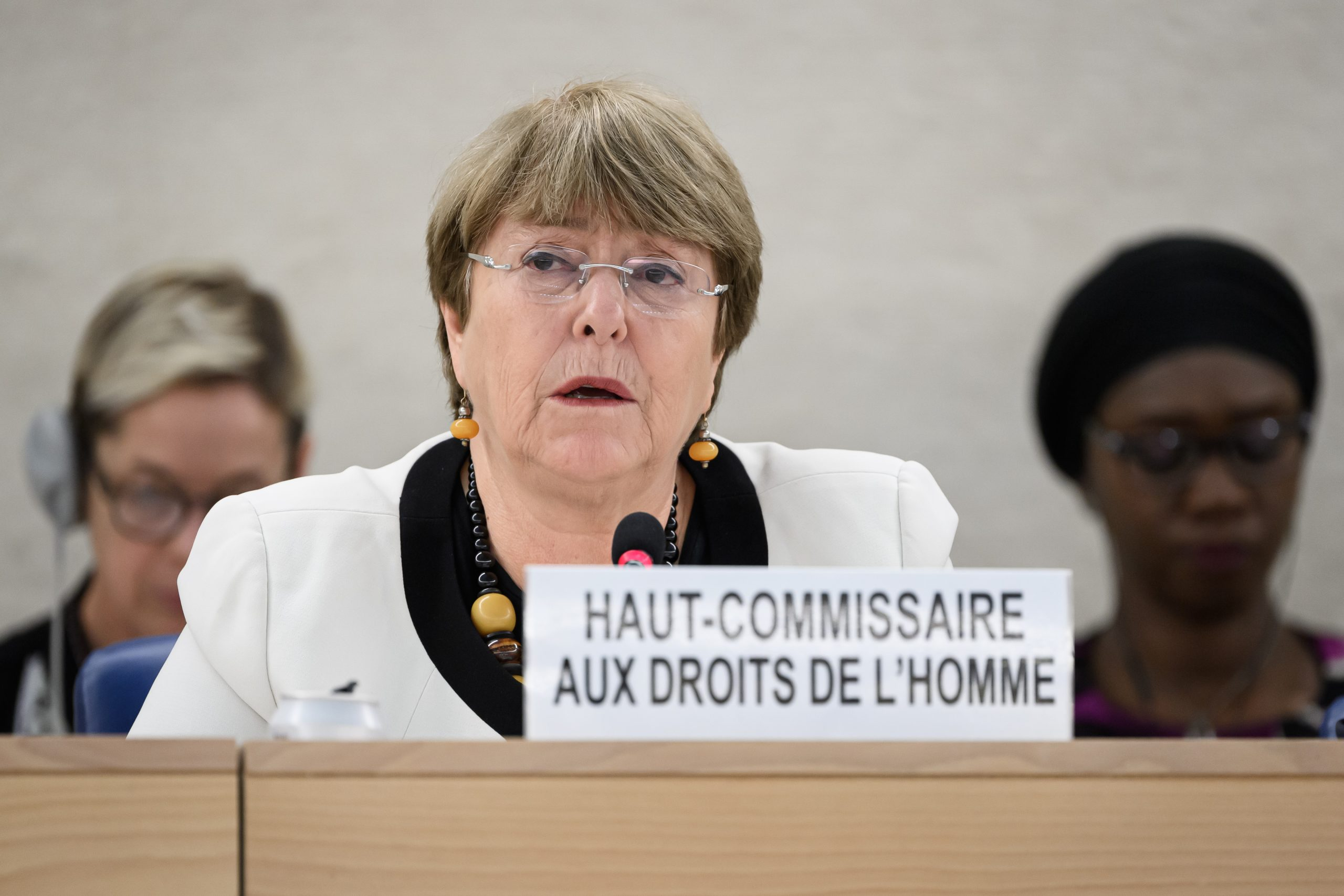 UN High Commissioner for Human Rights Michelle Bachelet attends an update on the situation of human rights in Venezuela at the United Nations Offices in Geneva on December 18, 2019. (Photo by Fabrice COFFRINI / AFP)