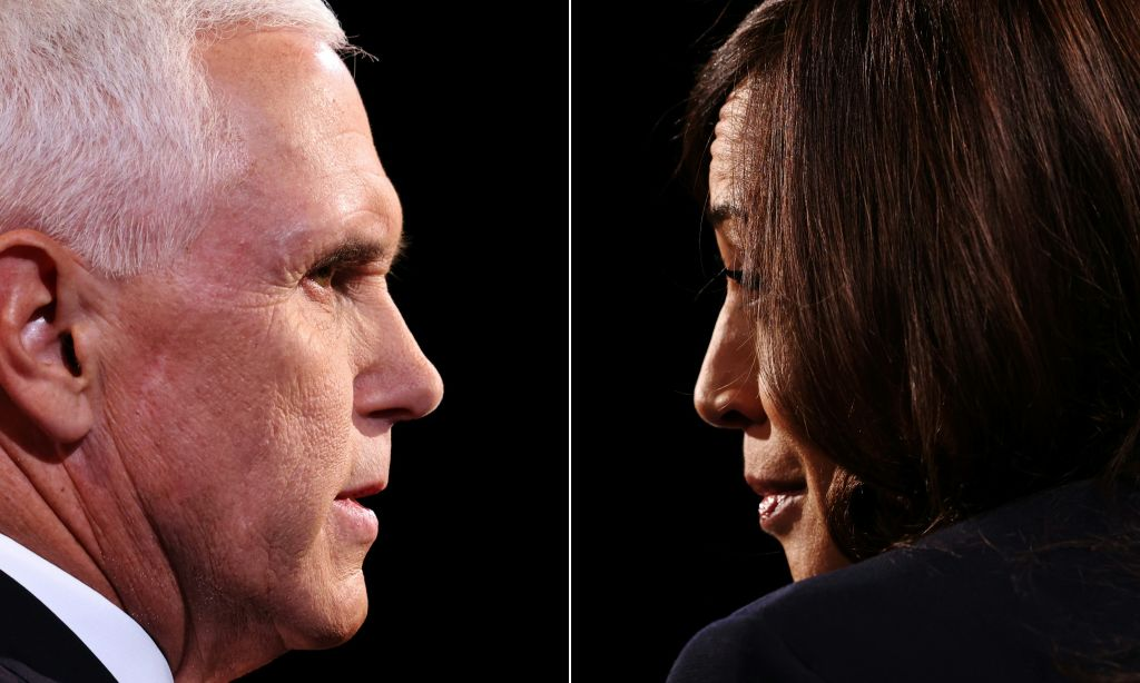 This combination of pictures created on October 07, 2020 shows US Vice President Mike Pence and Democratic vice presidential nominee and Senator from California Kamala Harris during the vice presidential debate in Kingsbury Hall at the University of Utah on October 7, 2020, in Salt Lake City, Utah.  (Photo by JUSTIN SULLIVAN/POOL/AFP via Getty Images)