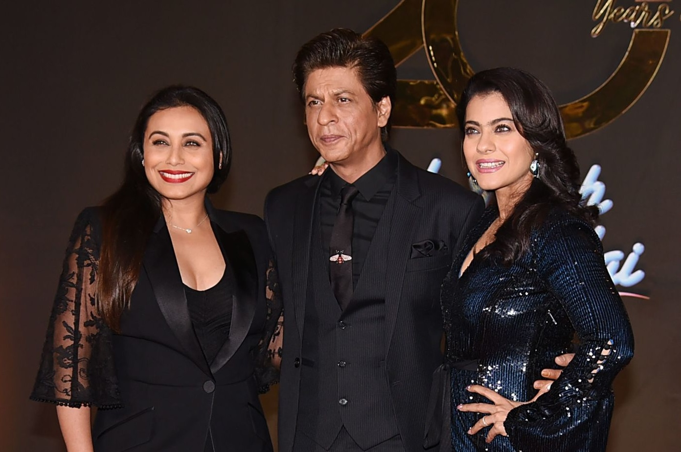 Rani Mukerji, Shah Rukh Khan, Kajol (Photo by SUJIT JAISWAL/AFP via Getty Images)