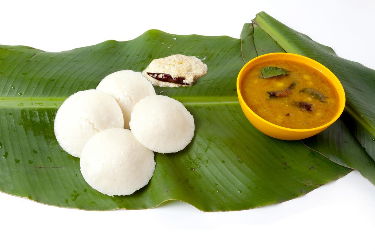 South Indian dishes Idli, Sambhar, and Chutney  on Banana leaf (Photo: iStock).