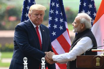News - File photo: US President Donald Trump shakes hands with India's Prime Minister Narendra Modi during a joint press conference at Hyderabad House in New Delhi on February 25, 2020. (PRAKASH SINGH/AFP via Getty Images)