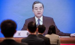 Coronavirus - Chinese Foreign Minister Wang Yi speaks during his online video link press conference during the National People's Congress at the media centre in Beijing on May 24, 2020. (Photo: NICOLAS ASFOURI/AFP via Getty Images)