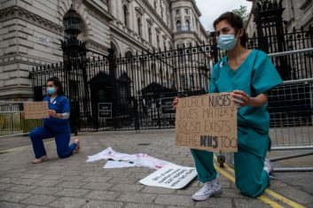 Coronavirus - NHS nurses protest against pay and working conditions, Dominic Cummings and show support for the Black Lives Matter movement outside the entrance to Downing Street on June 3, 2020 in London. (Photo: Chris J Ratcliffe/Getty Images)