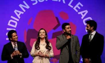 FOOTBALL - FILE PHOTO: Bollywood actors and co-owners of football clubs, Abhishek Bachhan (R) and Ranbir Kapoor (2nd R), and Nita Ambani, businesswoman and promoter of the Indian Super League, react as retired cricketer and co-owner of the Kerala Blasters Sachin Tendulkar (L) speaks during the emblem-unveiling ceremony of Indian Super League in Mumbai August 28, 2014. REUTERS/Danish Siddiqui/File Photo