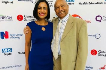 FEATURES - ALL IN THE FAMILY: Dr Binita Kane with her father Professor Bim Bhowmick at the NHS Windrush awards