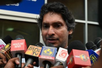 CRICKET - Sri Lanka's cricketer Kumar Sangakkara, captain of the 2011 Cricket World Cup, speaks to the media after questioning by police at the Special Investigation Unit in Colombo on July 2, 2020. (Photo by LAKRUWAN WANNIARACHCHI/AFP via Getty Images)