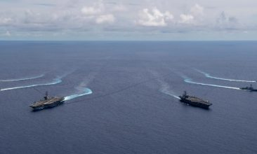 News - US aircraft carriers Nimitz and Ronald Reagan in the South China Sea. (Courtesy: US Navy)