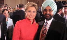 News - Dr Rajwant Singh (right), president of EcoSikh, and co-founder, National Sikh Campaign seen here with Hilary Clinton