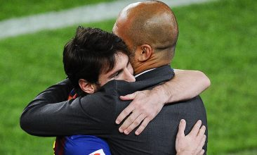 FOOTBALL - FILE PHOTO: Lionel Messi of FC Barcelona (L) hugs his Head coach Josep Guardiola of FC Barcelona after scoring his team's third goal during the La Liga match between FC Barcelona and RCD Espanyol at Camp Nou on May 5, 2012 in Barcelona, Spain. (Photo by David Ramos/Getty Images)