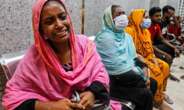 BANGLADESH - In this picture taken on September 4, 2020, relatives of a suspected gas explosion victims mourn in a hospital in Dhaka. A suspected gas explosion tore through a Bangladesh mosque killing at least 12 people while dozens suffered life-threatening burns, police said on September 5. (Photo by -/AFP via Getty Images)