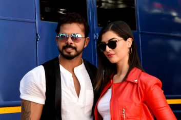 CRICKET - FILE PHOTO: In this picture taken on May 2, 2019, former cricketer turned into actor S. Sreesanth (L) and Spain model and actress Janira Ider (R) pose for photographs during the inauguration of the upcoming Hindi and Kannada film 'SPEED BOYS  Dhoom Machale' in Mumbai. (Photo by SUJIT JAISWAL/AFP via Getty Images)