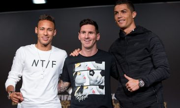 FOOTBALL - Lionel Messi (centre) with Neymar Jr (left) and Christiano Ronaldo. (Photo: Philipp Schmidli/Getty Images)