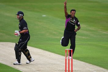 CRICKET - FILE PHOTO: Rana Naved-ul-Hasan of Yorkshire celebrates the wicket of Michael Di Venuto during the Twenty20 Cup Match between Yorkshire Carnegie and Durham Dynamos at Headingley Carnegie Stadium on June 2, 2009 in Leeds, England.  (Photo by Laurence Griffiths/Getty Images)