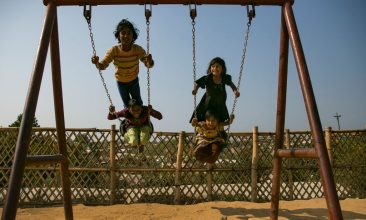 BANGLADESH - FILE PHOTO: Children play on a playground in a Rohingya refugee camp on January 23, 2020 in Cox's Bazar, Bangladesh. Children make up more than half of the roughly 700,000 Rohingya who arrived in Bangladesh in 2017. (Photo by Allison Joyce/Getty Images)