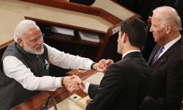 HEADLINE STORY - FILE PHOTO: Indian Prime Minister Narendra Modi, (L), shakes hands with then House Speaker Paul Ryan (R-WI), (C), and US Vice President Joseph Biden (R), after addressing a joint session of the United States Congress at the US Capitol, June 8, 2016 in Washington, DC. The Prime Minister has in town this week meeting with members of Congress, and President Barack Obama.  (Photo by Mark Wilson/Getty Images)