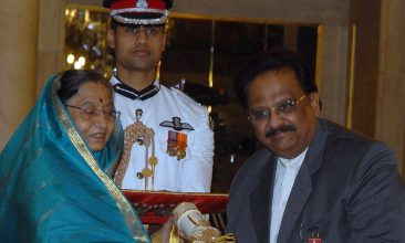 TOP LISTS - FILE PHOTO: Indian President Pradibha Singh Patil (L) presents Indian singer, S P Balasubrahmanyam during the presentation of the 'Padma Awards 2011' at The Presidential House in New Delhi on March 24, 2011.  (STRDEL/AFP via Getty Images)