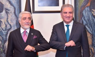 News - Pakistan's Foreign Minister Shah Mahmood Qureshi bumps elbows with the head of the Afghanistan's peace council, Abdullah Abdullah, upon his arrival at the Ministry of Foreign Affairs (MOFA) office in Islamabad, Pakistan September 28, 2020. Ministry of Foreign Affairs (MoFA) Handout via REUTERS
