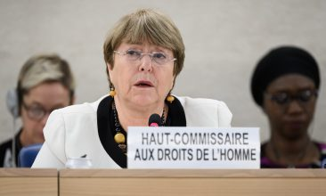 BANGLADESH - UN High Commissioner for Human Rights Michelle Bachelet attends an update on the situation of human rights in Venezuela at the United Nations Offices in Geneva on December 18, 2019. (Photo by Fabrice COFFRINI / AFP)