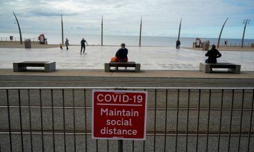 Business - A social distancing safety message against Covid-19 greets visitors on October 16, 2020 in Blackpool, England. (Photo by Christopher Furlong/Getty Images)
