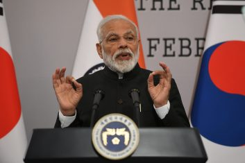 Coronavirus - SEOUL, SOUTH KOREA - FEBRUARY 22:  Indian Prime Minister Narendra Modi speaks during a joint press conference with South Korea's President Moon Jae-in after their meeting at the presidential Blue House on February 22, 2019 in Seoul, South Korea. Modi is on a two-day visit to South Korea as part of an effort to strengthen ties between the two countries.  (Photo by Jung Yeon-Je-Pool/Getty Images)
