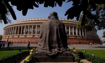 HEADLINE STORY - A general view of the Indian Parliament building during the opening of the budget session in New Delhi on February 23, 2016. (MONEY SHARMA/AFP via Getty Images)