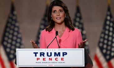 HEADLINE STORY - Former Ambassador to the United Nations Nikki Haley speaks during the first day of the Republican convention at the Mellon auditorium on August 24, 2020 in Washington, DC (Photo by Olivier DOULIERY / AFP) (Photo by OLIVIER DOULIERY/AFP via Getty Images)