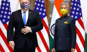 HEADLINE STORY - US Secretary of State Mike Pompeo and India's Foreign Minister Subrahmanyam Jaishankar stand during a photo opportunity ahead of their meeting at Hyderabad House in New Delhi, India, October 26, 2020. REUTERS/Adnan Abidi/Pool