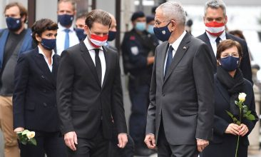 HEADLINE STORY - Austrian Chancellor Sebastian Kurz (C-L) and Austrian President Alexander van der Bellen (C-R) arrive to pay their respects to the victims of a shooting in Vienna on November 3, 2020, one day after the shooting at multiple locations across central Vienna. (Photo by JOE KLAMAR/AFP via Getty Images)