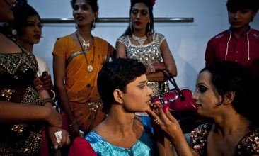BANGLADESH - Hijras, or transgenders,  get ready backstage before the Hijra talent show, part of the first ever event called Hijra Pride 2014, on November 10, 2014 in Dhaka, Bangladesh.  (Photo by Allison Joyce/Getty Images)