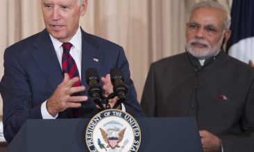 HEADLINE STORY - FILE PHOTO: US Vice President Joe Biden speaks alongside Indian Prime Minister Narendra Modi during a luncheon at the US State Department in Washington, DC, September 30, 2014. (SAUL LOEB/AFP via Getty Images)