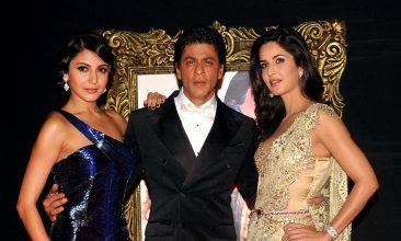 TOP LISTS - Anushka Sharma, Shah Rukh Khan, Katrina Kaif (Photo by STR/AFP via Getty Images)
