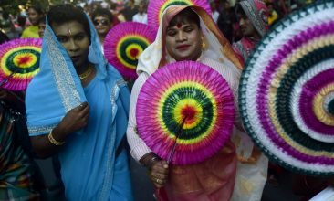 BANGLADESH - Bangladeshi hijras - transgenders - march in the street during a rally to mark the first ever nationwide program to observe 'Hijra Day' in Dhaka on November 10, 2014. On November 10, 2013, the Bangladesh government officially recognised hijras as a separate gender in order to secure their rights, enabling them to identify their gender as 'hijra' on all government documents, including passports. AFP PHOTO/Munir uz ZAMAN        (Photo credit should read MUNIR UZ ZAMAN/AFP via Getty Images)